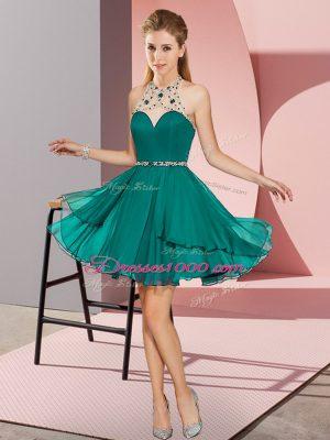 Fantastic Turquoise Halter Top Zipper Beading Prom Dress Sleeveless