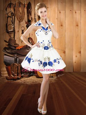 White Sleeveless Mini Length Embroidery Lace Up Homecoming Dress