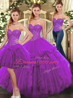 Smart Purple Lace Up Sweetheart Ruffles Quince Ball Gowns Organza Sleeveless