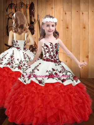 Super Red Ball Gowns Organza Straps Sleeveless Embroidery and Ruffles Floor Length Lace Up Juniors Party Dress