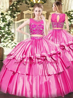 Charming Rose Pink Scoop Neckline Beading and Ruffled Layers Quinceanera Gown Sleeveless Zipper