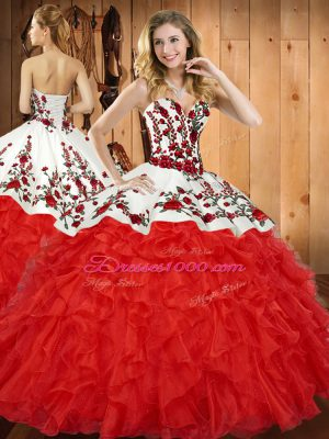 Wine Red Satin and Organza Lace Up 15th Birthday Dress Sleeveless Floor Length Embroidery and Ruffles