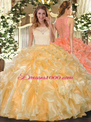 Ideal Gold Ball Gowns Organza Scoop Sleeveless Lace and Ruffles Floor Length Clasp Handle Quinceanera Dress