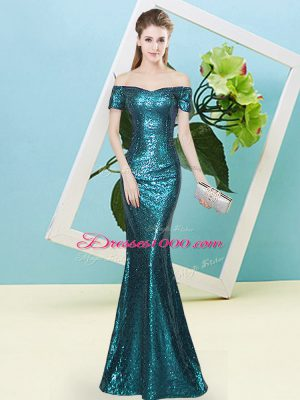 Luxurious Off The Shoulder Short Sleeves Prom Gown Floor Length Sequins Teal Sequined