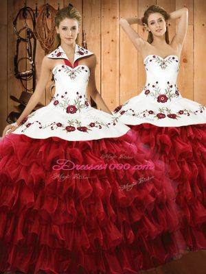 Sleeveless Organza Floor Length Lace Up 15th Birthday Dress in Wine Red with Embroidery and Ruffled Layers