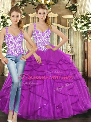 Excellent Fuchsia Lace Up Sweet 16 Quinceanera Dress Beading and Ruffles Sleeveless Floor Length
