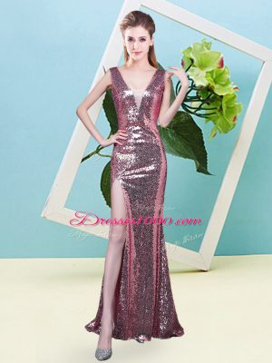 Perfect Coral Red Sleeveless Sequined Zipper Prom Gown for Prom and Party