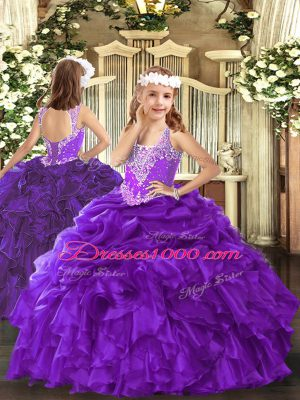 Floor Length Purple Child Pageant Dress Organza Sleeveless Beading and Ruffles and Pick Ups