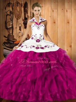 Beautiful Fuchsia Sweet 16 Dresses Military Ball and Sweet 16 and Quinceanera with Embroidery and Ruffles Halter Top Sleeveless Lace Up