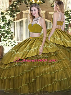 Free and Easy High-neck Sleeveless Ball Gown Prom Dress Floor Length Beading and Embroidery and Ruffled Layers Olive Green Tulle