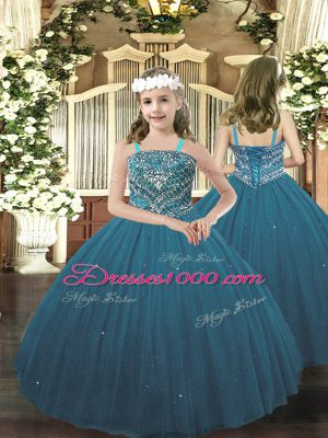 Teal Sleeveless Tulle Lace Up Kids Pageant Dress for Party and Quinceanera