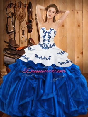 Floor Length Blue Quince Ball Gowns Satin and Organza Sleeveless Embroidery and Ruffles