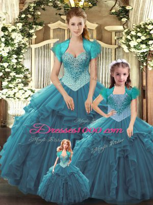 Extravagant Floor Length Ball Gowns Sleeveless Teal 15th Birthday Dress Lace Up