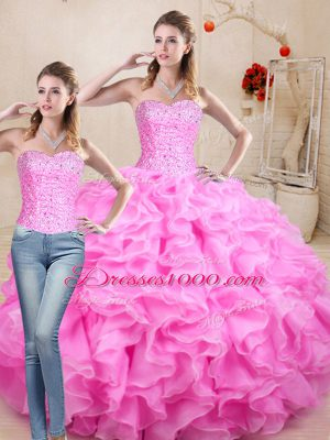 Enchanting Rose Pink Organza Lace Up Sweet 16 Quinceanera Dress Sleeveless Floor Length Beading and Ruffles