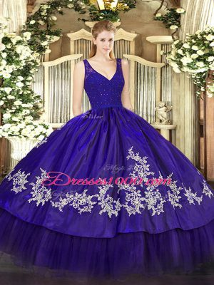 Trendy Ball Gowns Quinceanera Dresses Purple V-neck Taffeta Sleeveless Floor Length Backless