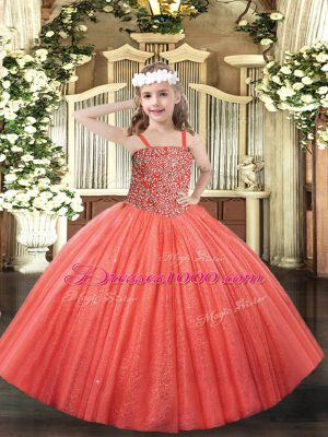 Beauteous Coral Red Ball Gowns Beading Girls Pageant Dresses Lace Up Tulle Sleeveless Floor Length