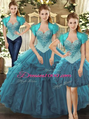 Teal Sleeveless Beading and Ruffles Floor Length Ball Gown Prom Dress