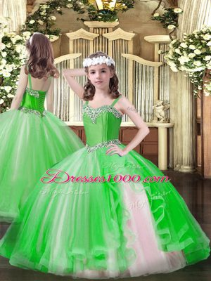 Evening Gowns Party and Quinceanera with Beading Straps Sleeveless Lace Up