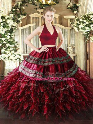 Two Pieces Sweet 16 Dress Wine Red Halter Top Organza Sleeveless Floor Length Zipper