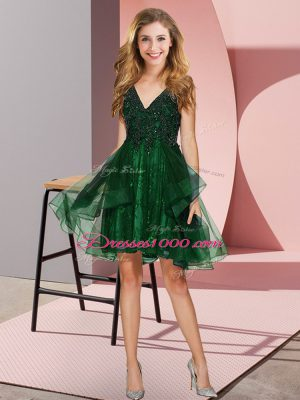 Dark Green V-neck Backless Appliques and Ruffles Quinceanera Court of Honor Dress Sleeveless