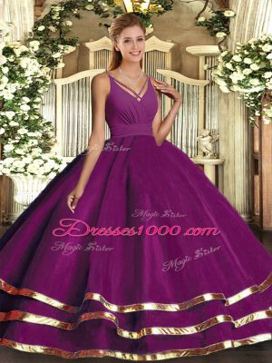 Ideal Purple V-neck Neckline Ruching Quinceanera Dresses Sleeveless Backless