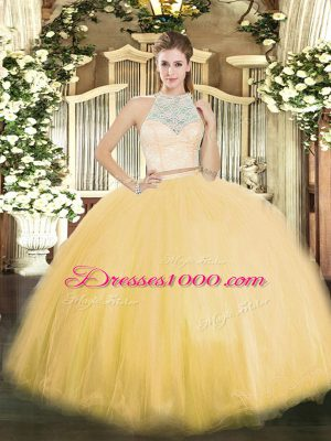 Fashionable Sleeveless Floor Length Lace Zipper Quince Ball Gowns with Gold