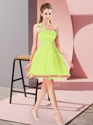 Adorable Beading and Hand Made Flower Prom Evening Gown Yellow Green Zipper Sleeveless Mini Length