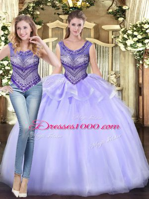 Dramatic Lavender Tulle Lace Up Vestidos de Quinceanera Sleeveless Floor Length Beading and Ruffles