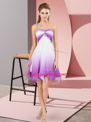 Multi-color Fading Color Lace Up Sleeveless Asymmetrical Beading