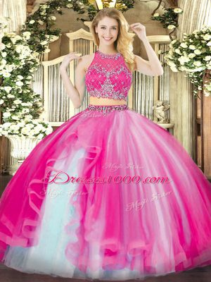 Hot Pink Zipper Quinceanera Gowns Beading and Ruffles Sleeveless Floor Length