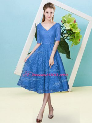 Delicate Blue Lace Lace Up Quinceanera Court Dresses Half Sleeves Tea Length Bowknot