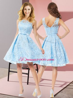 Adorable Aqua Blue A-line Lace Scoop Sleeveless Bowknot Knee Length Zipper Quinceanera Dama Dress
