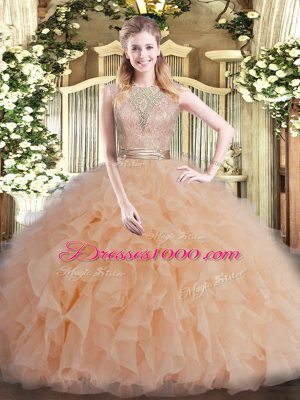 Gorgeous Champagne Tulle Backless Scoop Sleeveless Floor Length 15th Birthday Dress Beading and Ruffles