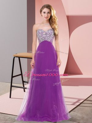 Tulle Sweetheart Sleeveless Lace Up Beading Damas Dress in Eggplant Purple