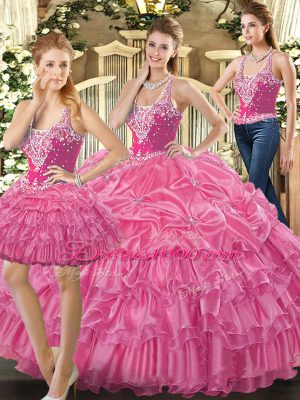 Stunning Floor Length Hot Pink Quince Ball Gowns Tulle Sleeveless Beading and Ruffles and Pick Ups