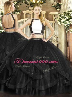 Black Tulle Backless Halter Top Sleeveless Floor Length Vestidos de Quinceanera Ruffles