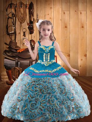 Hot Sale Multi-color Straps Neckline Embroidery and Ruffles Little Girl Pageant Gowns Sleeveless Lace Up