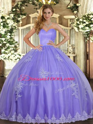 New Style Lavender Ball Gowns Tulle Sweetheart Sleeveless Beading and Appliques Floor Length Lace Up Sweet 16 Dress