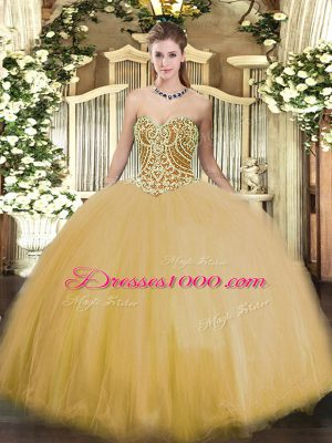 Gold Ball Gowns Tulle Sweetheart Sleeveless Beading Floor Length Lace Up Sweet 16 Quinceanera Dress