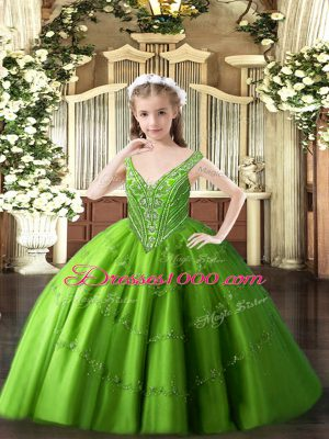 Sleeveless Floor Length Beading and Appliques Lace Up Pageant Gowns with Green