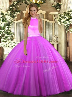 Beading Quinceanera Gowns Rose Pink and Lilac Backless Sleeveless Floor Length