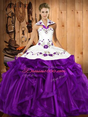 Nice Embroidery and Ruffles Sweet 16 Quinceanera Dress Purple Lace Up Sleeveless Floor Length