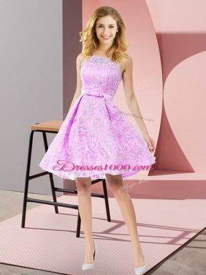 Lilac A-line Scoop Sleeveless Lace Knee Length Zipper Bowknot Court Dresses for Sweet 16