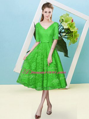 617eb9f062f New Arrival Bowknot Quinceanera Court Dresses Green Lace Up Half Sleeves  Tea Length