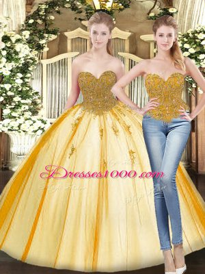 Pretty Gold Sweetheart Lace Up Beading and Appliques Sweet 16 Quinceanera Dress Sleeveless