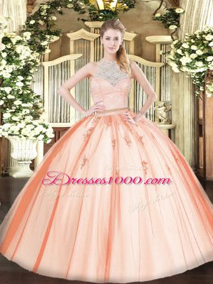 Free and Easy Tulle Sleeveless Floor Length Quinceanera Dresses and Lace and Appliques