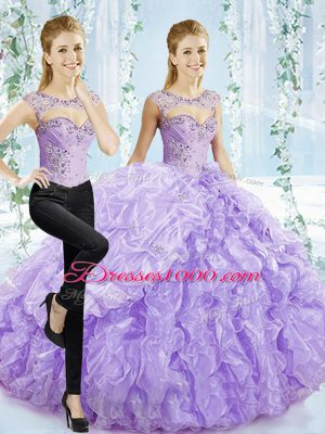 Lavender Sweetheart Lace Up Beading and Pick Ups Quinceanera Dress Brush Train Sleeveless