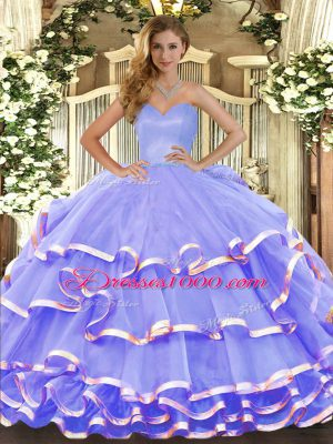 Great Sweetheart Sleeveless Lace Up Sweet 16 Quinceanera Dress Lavender Organza