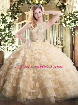 Sophisticated Champagne Sleeveless Organza Backless Sweet 16 Dresses for Military Ball and Sweet 16 and Quinceanera
