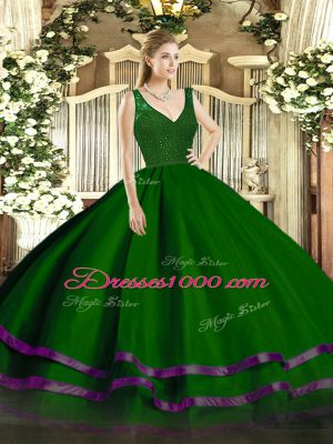 Fitting Floor Length Dark Green Vestidos de Quinceanera Organza Sleeveless Beading and Lace and Ruffled Layers
